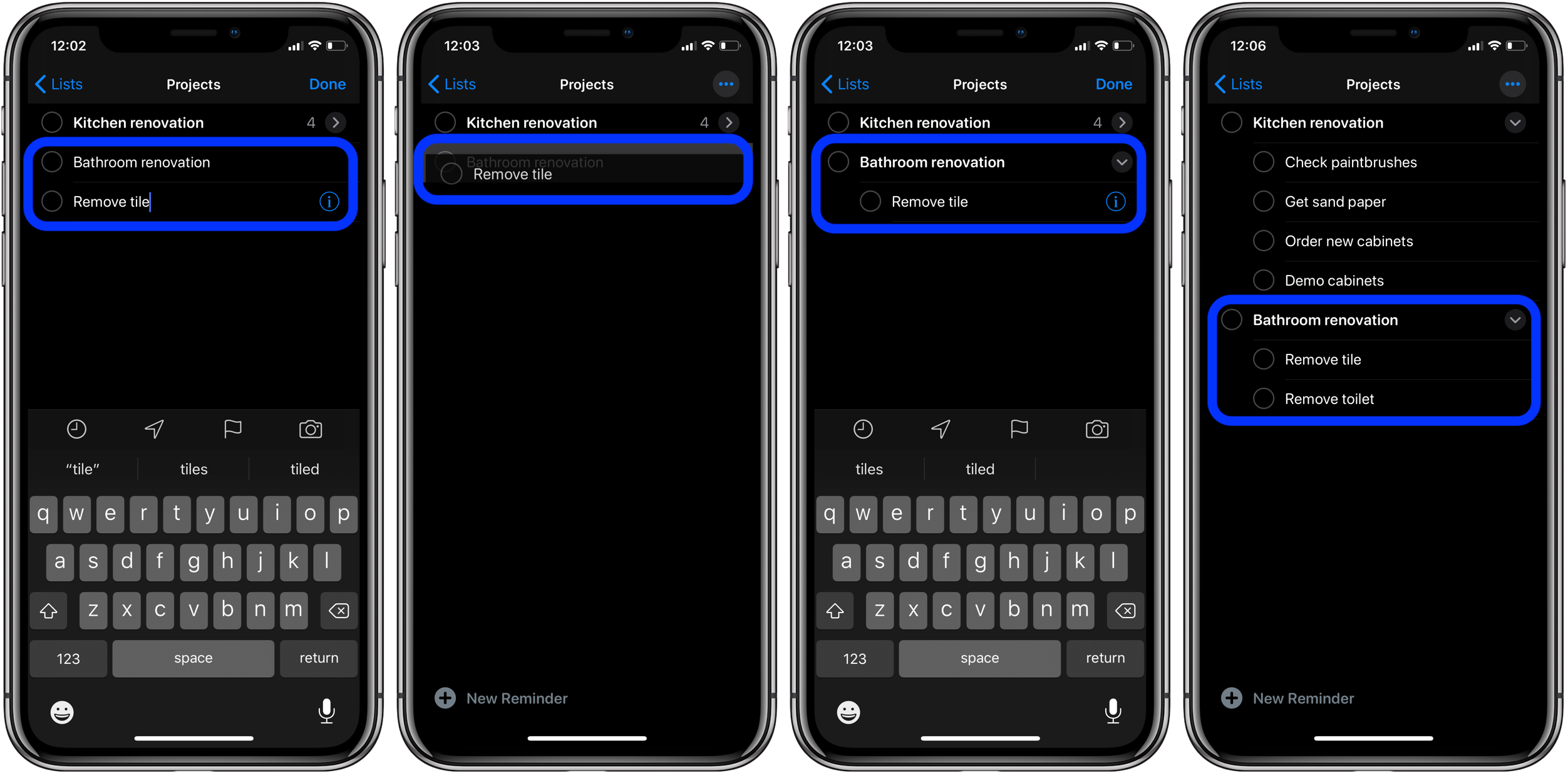 How to make subtasks Reminders iOS 13 macOS Catalina