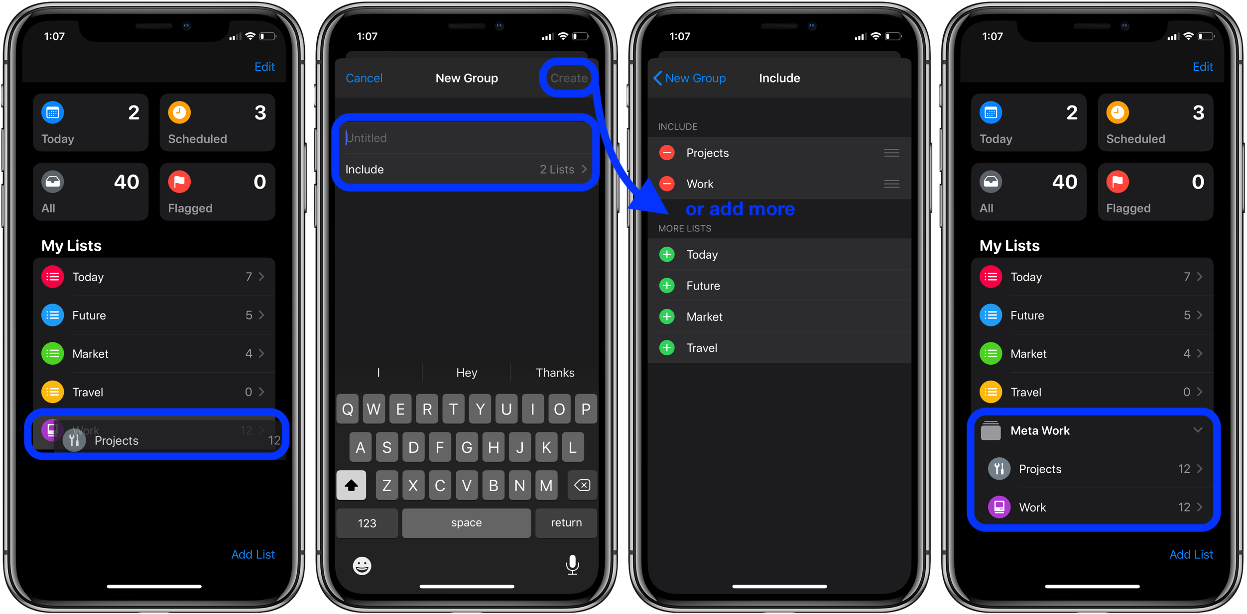 How to make sublists groups Reminders iOS 13 macOS Catalina