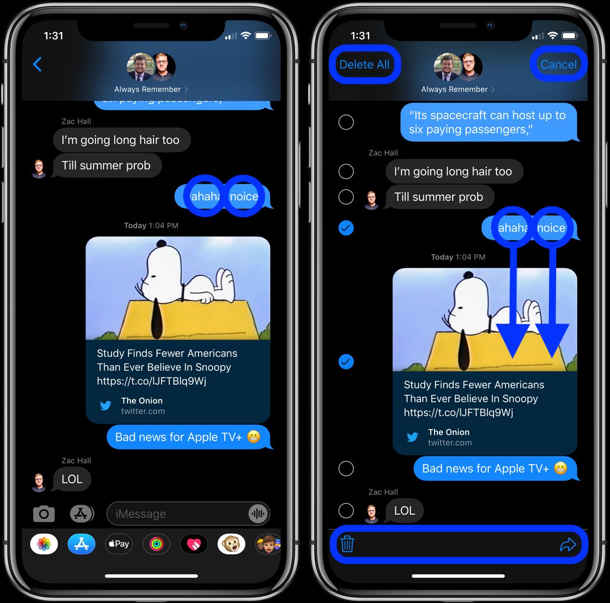 iOS 13 小技巧深挖 | 如何通过快捷手势选中多条消息删除?