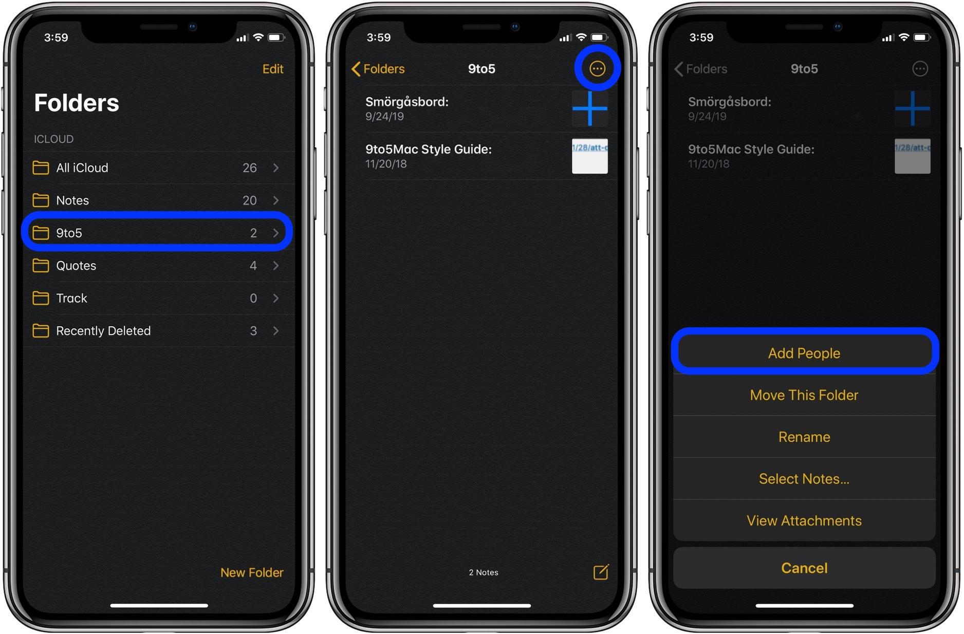How to share Notes app folders iPhone iPad Mac walkthrough 1
