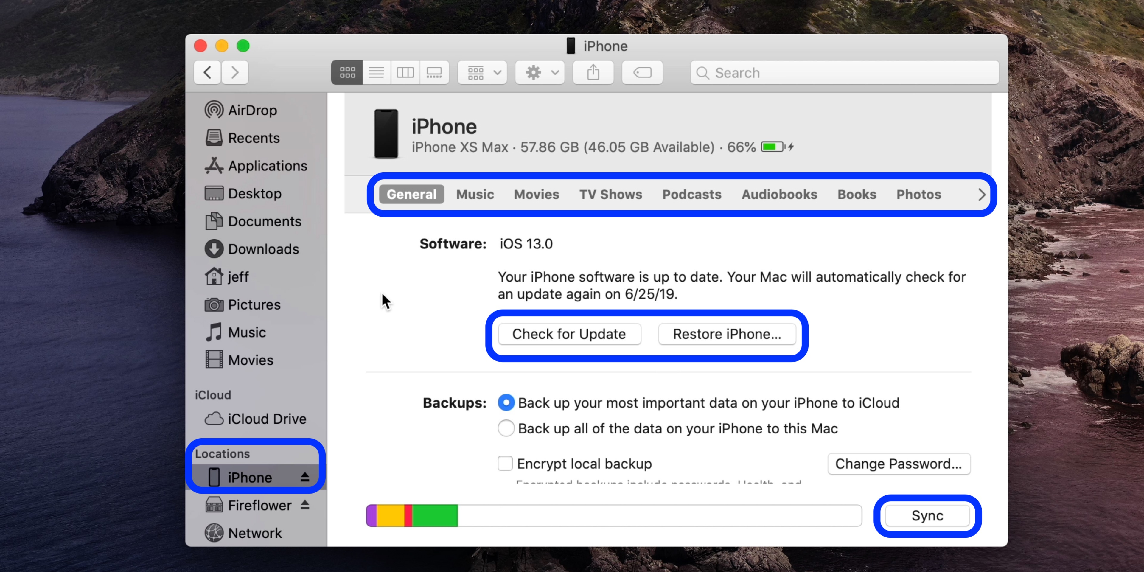mac os catalina iphone backup