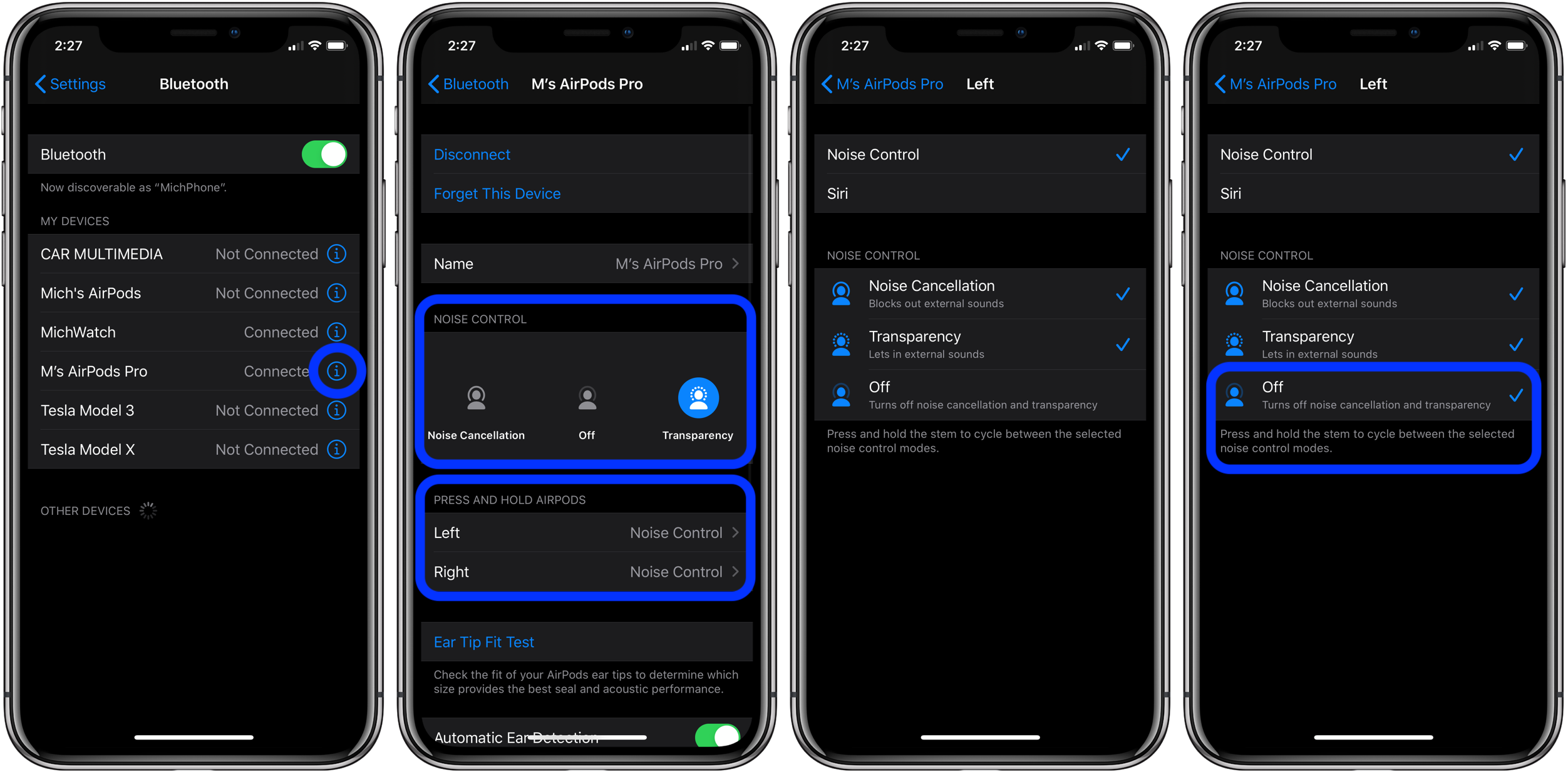 How to use noise cancellation transparency mode AirPod Pro walkthrough 2