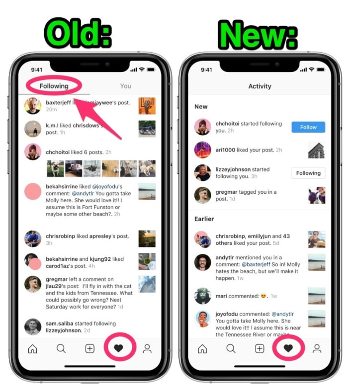 Instagram Following Activity feed