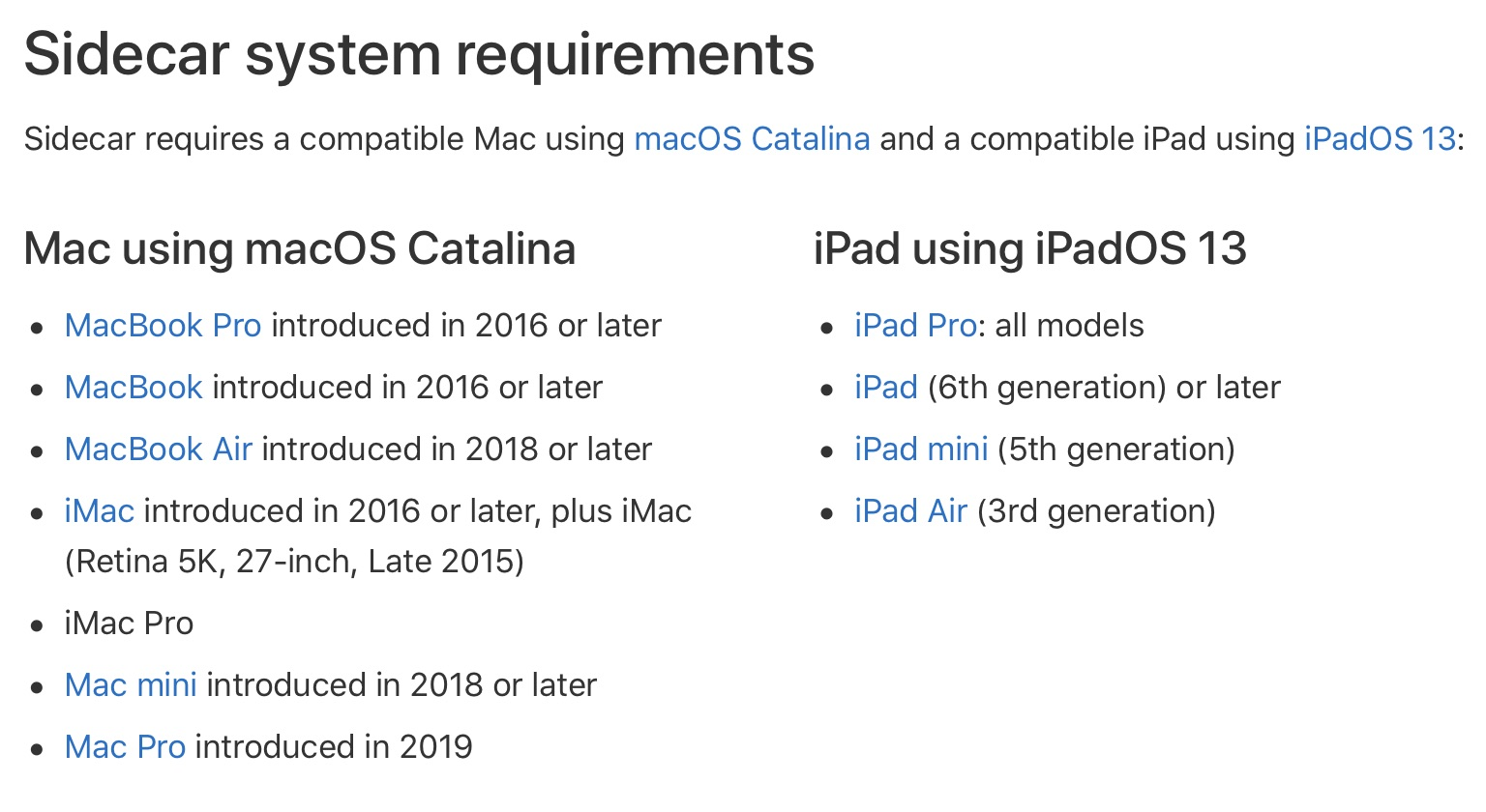 Sidecar Mac iPad hardware requirements