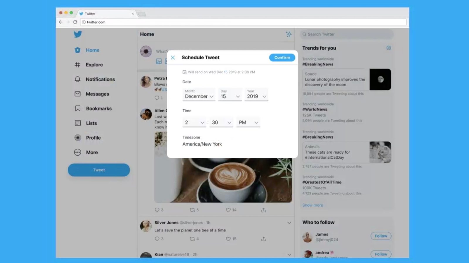 Twitter rolling out support for scheduling tweets via web app