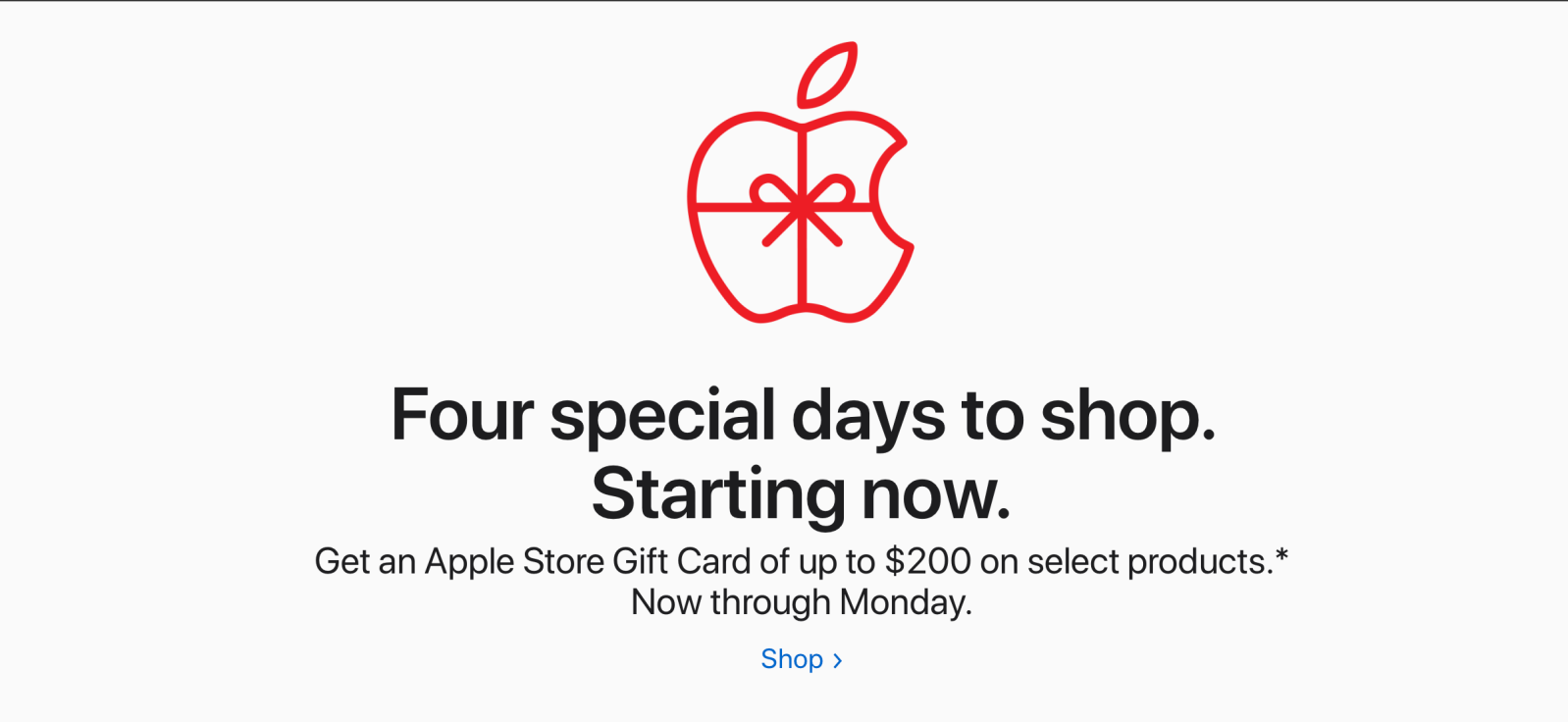 Apple Store Black Friday promotion live in the United States, get a gift card up to $200 value