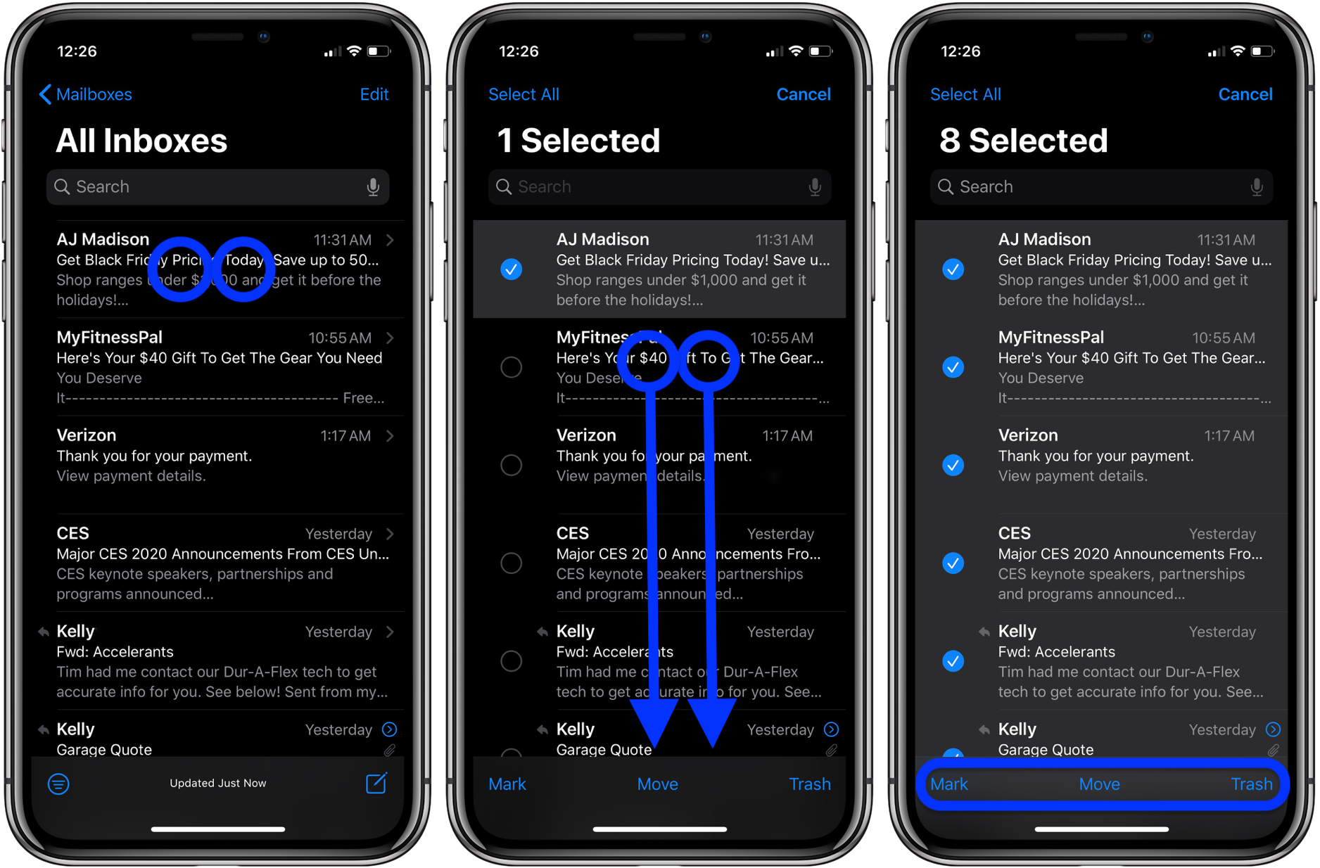 How to quickly select delete move email on iPhone iPad in iOS 13 walkthrough