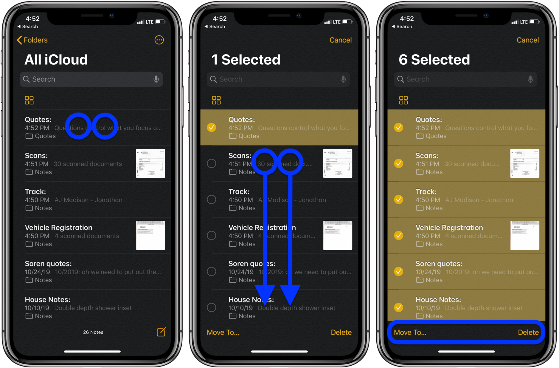 How to quickly select move delete notes on iPhone and iPad walkthrough