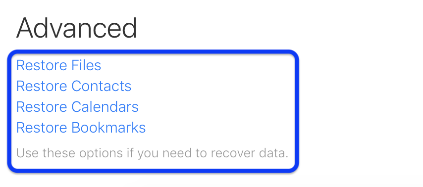 How to restore deleted iCloud contacts calendars bookmarks walkthrough 2