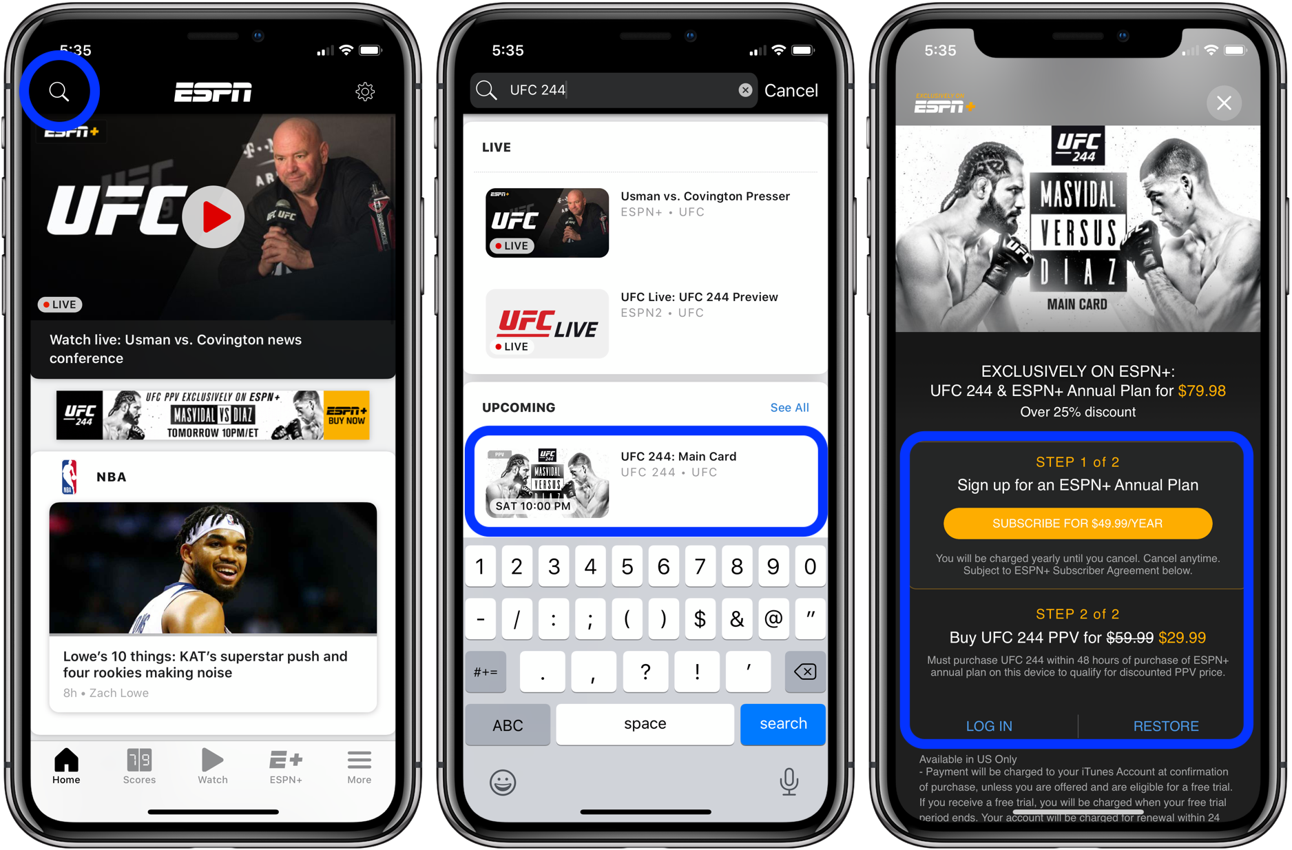 How to watch UFC 244 on iPhone, iPad, and Apple TV walkthrough 1
