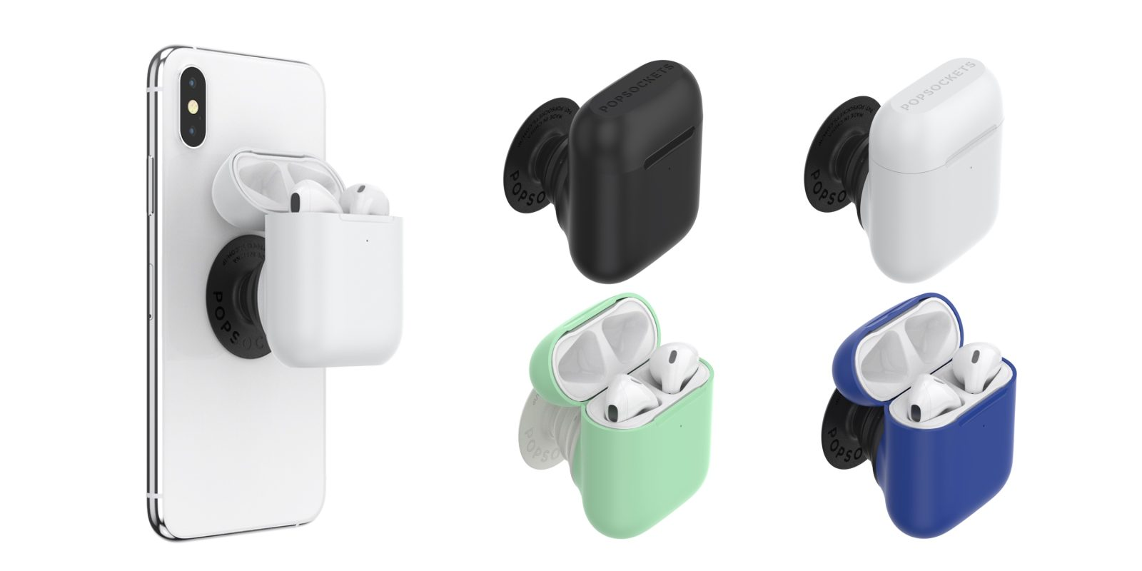 PopSockets' PopGrip AirPods Holder is a detachable iPhone grip/stand and AirPods case