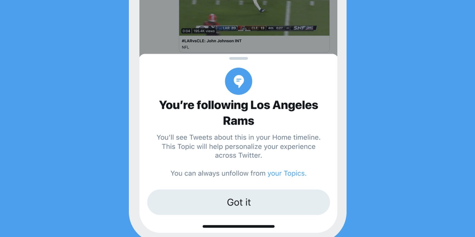 Twitter's 'Topics' feature to follow sports, entertainment, and gaming rolling out soon