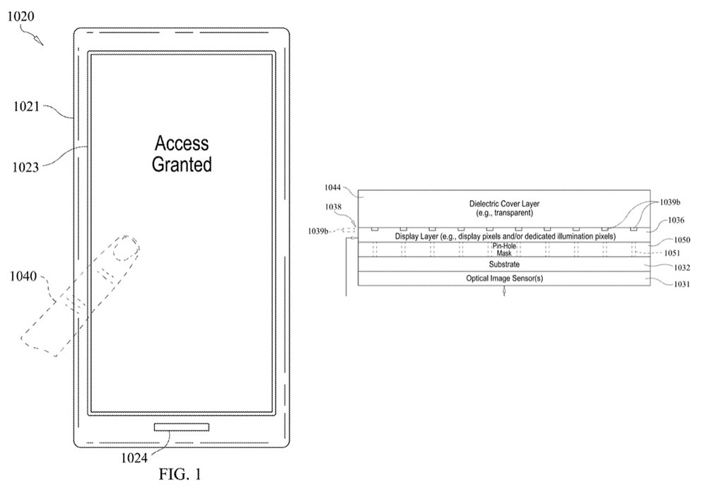Patent illustrations for under-display Touch ID