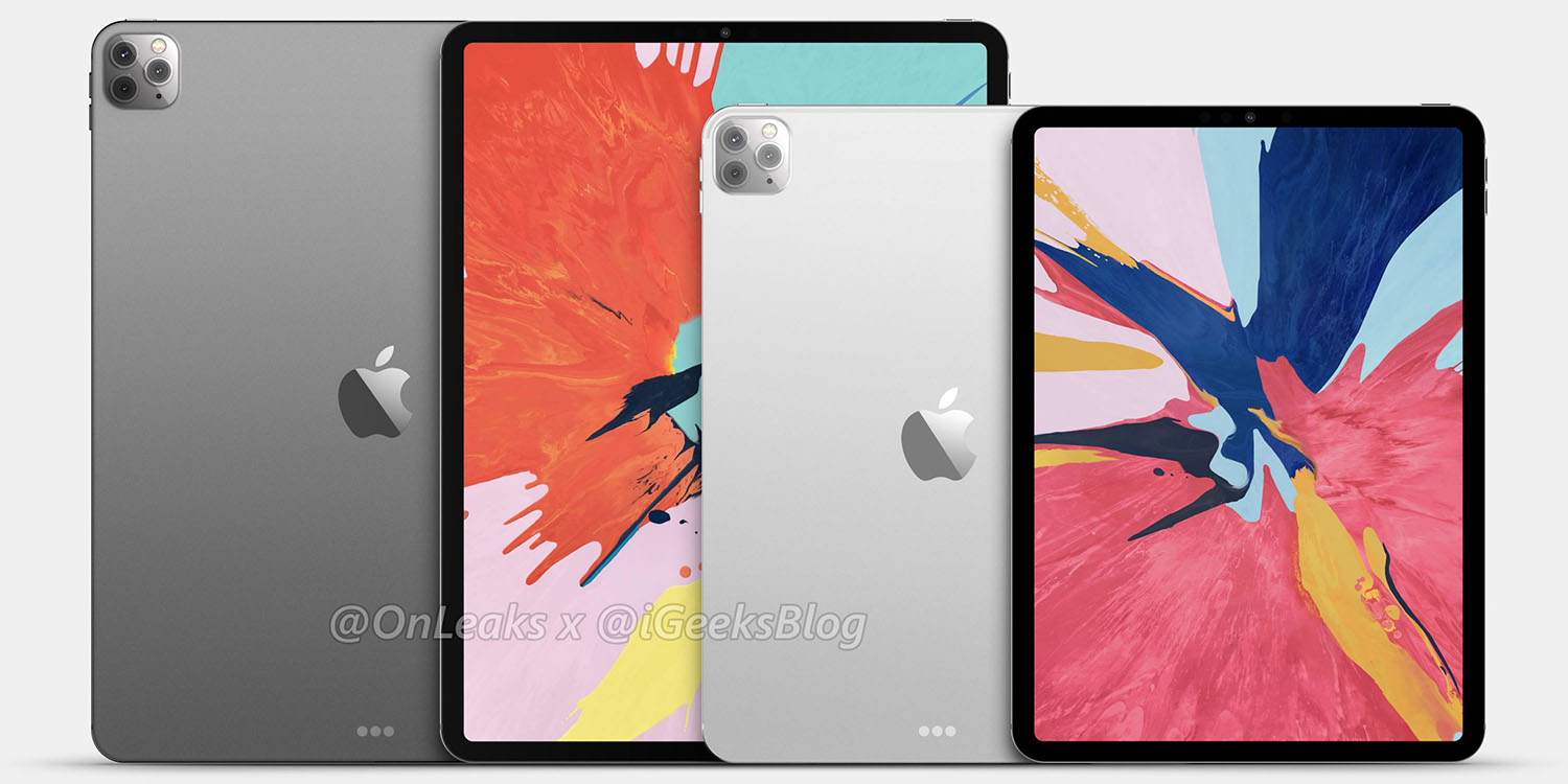 Renders based on claimed design leaks show 2020 iPads with triple rear cameras