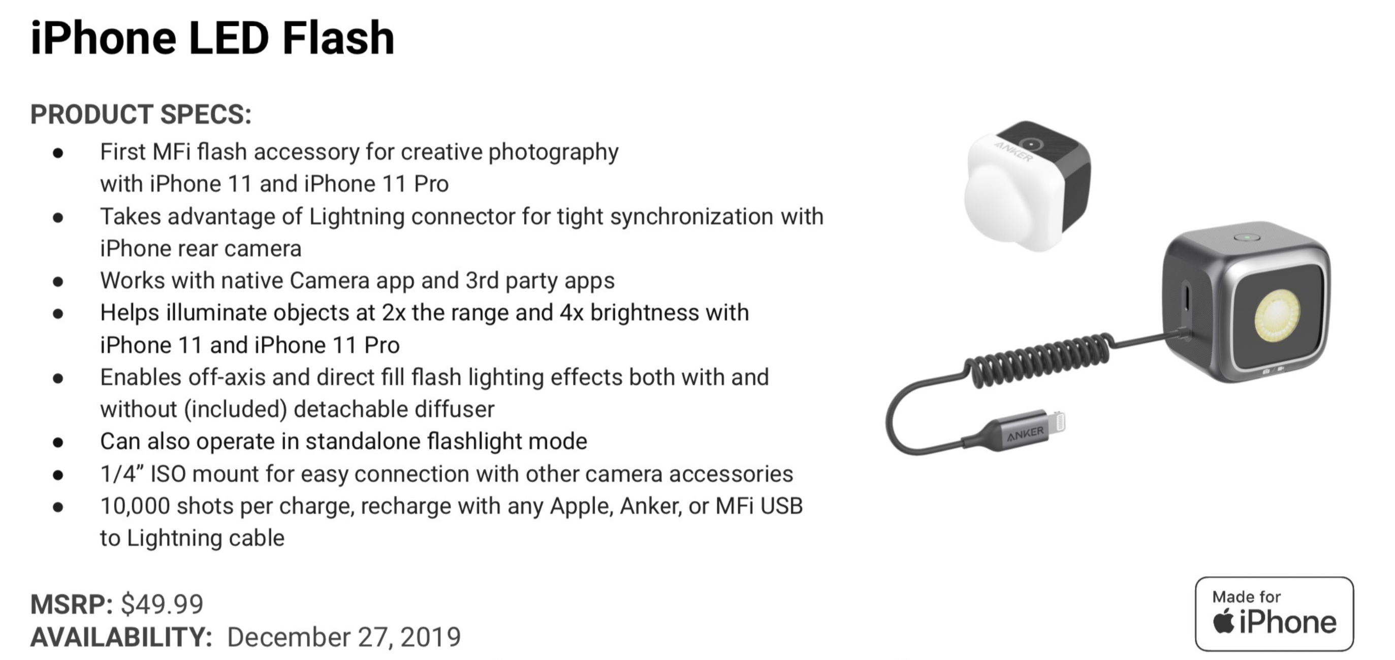 Anker MFi iPhone LED Flash