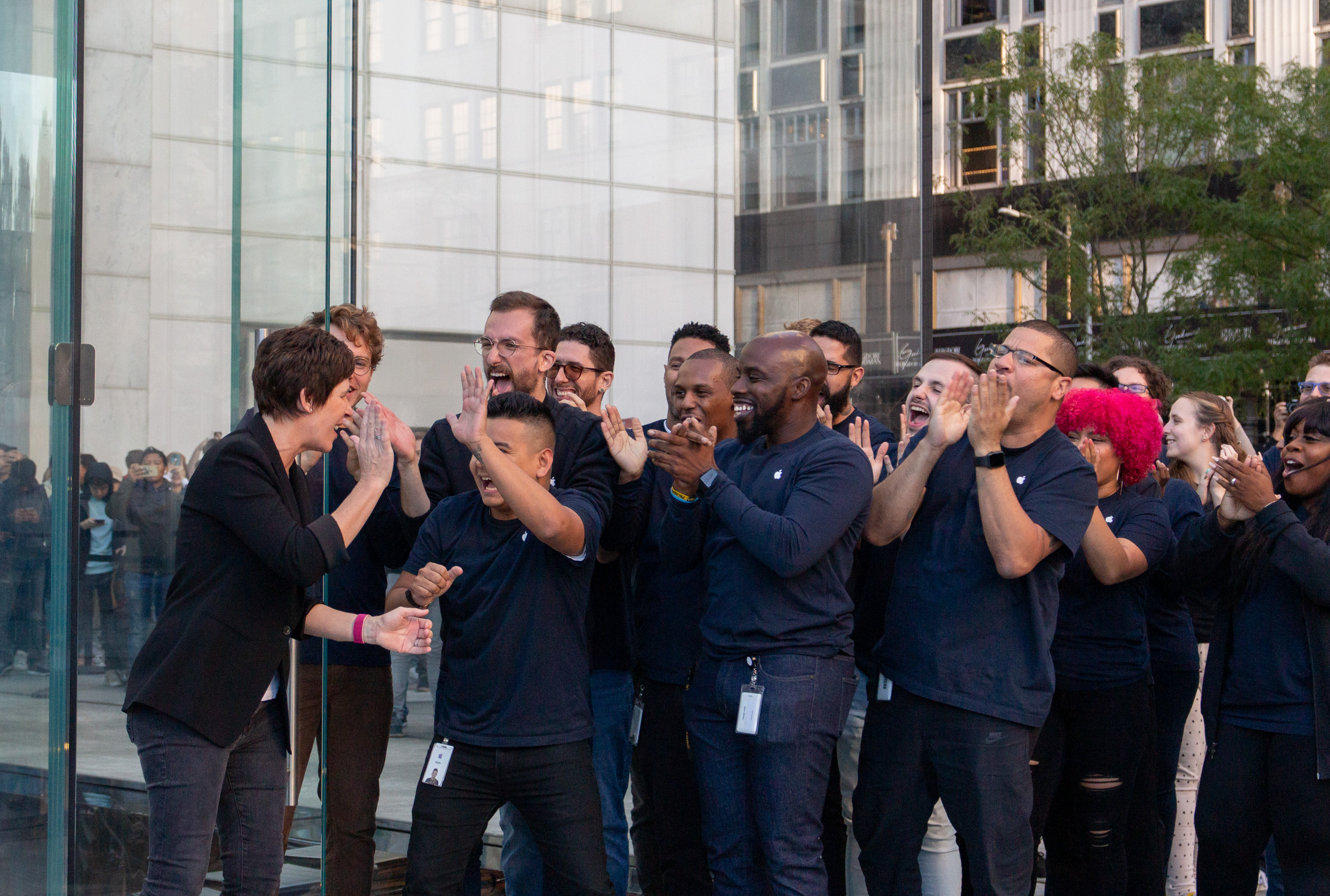 Deirdre O'Brien welcomes team members to the new Apple Fifth Avenue