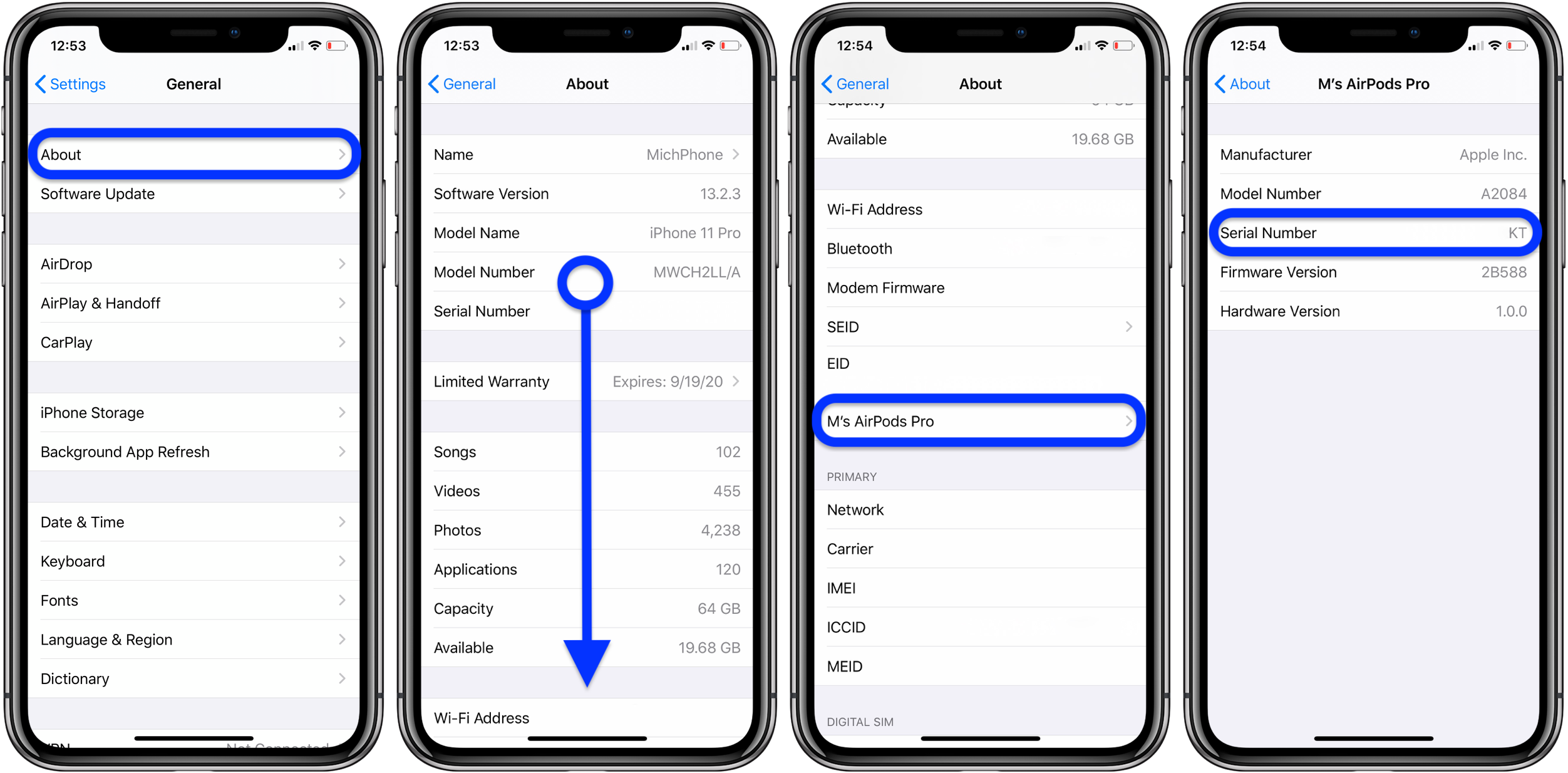 how to find AirPods Pro serial number walkthrough 2