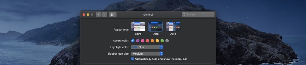 macOS Catalina Dark Mode appearance