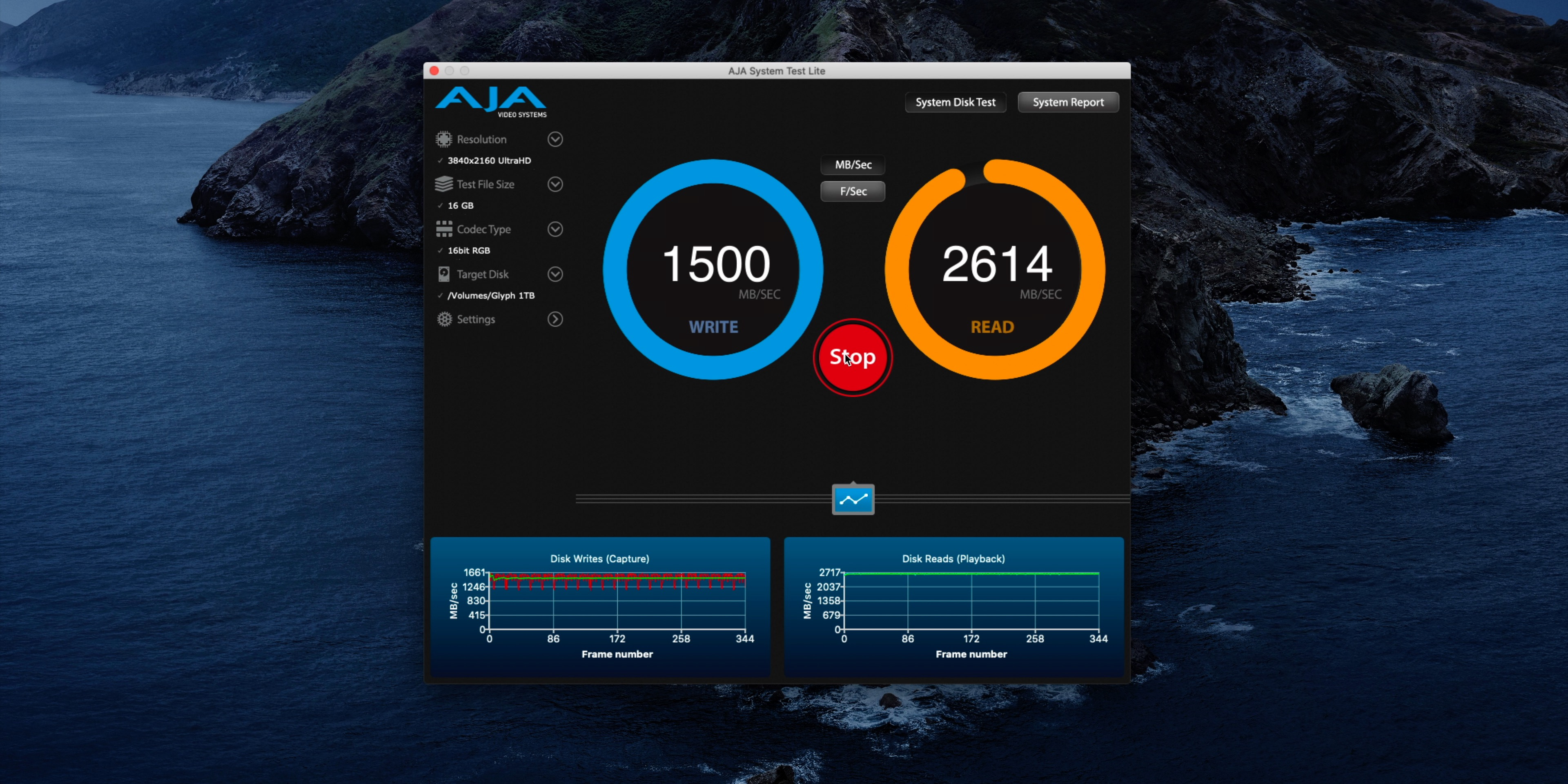 Glyph Atom Pro SSD Aja speed test
