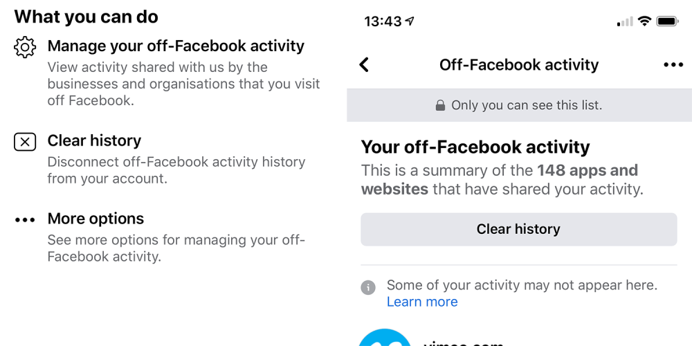 How to clear your Facebook history