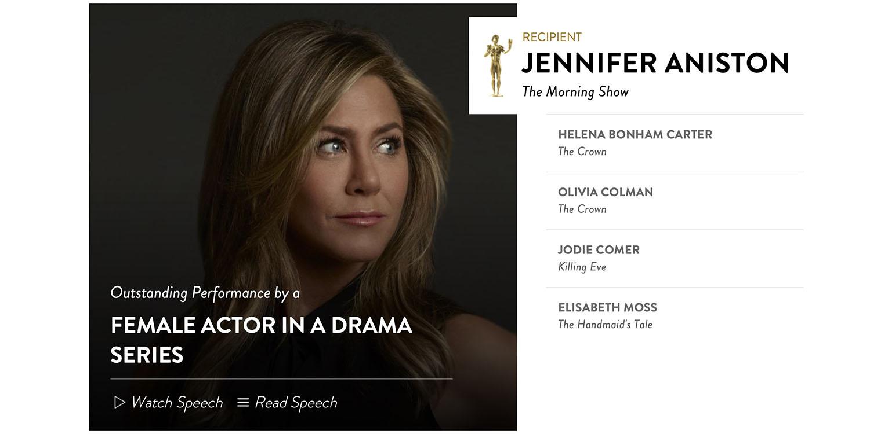 Jennifer Aniston is surprise winner of SAG award for The Morning Show