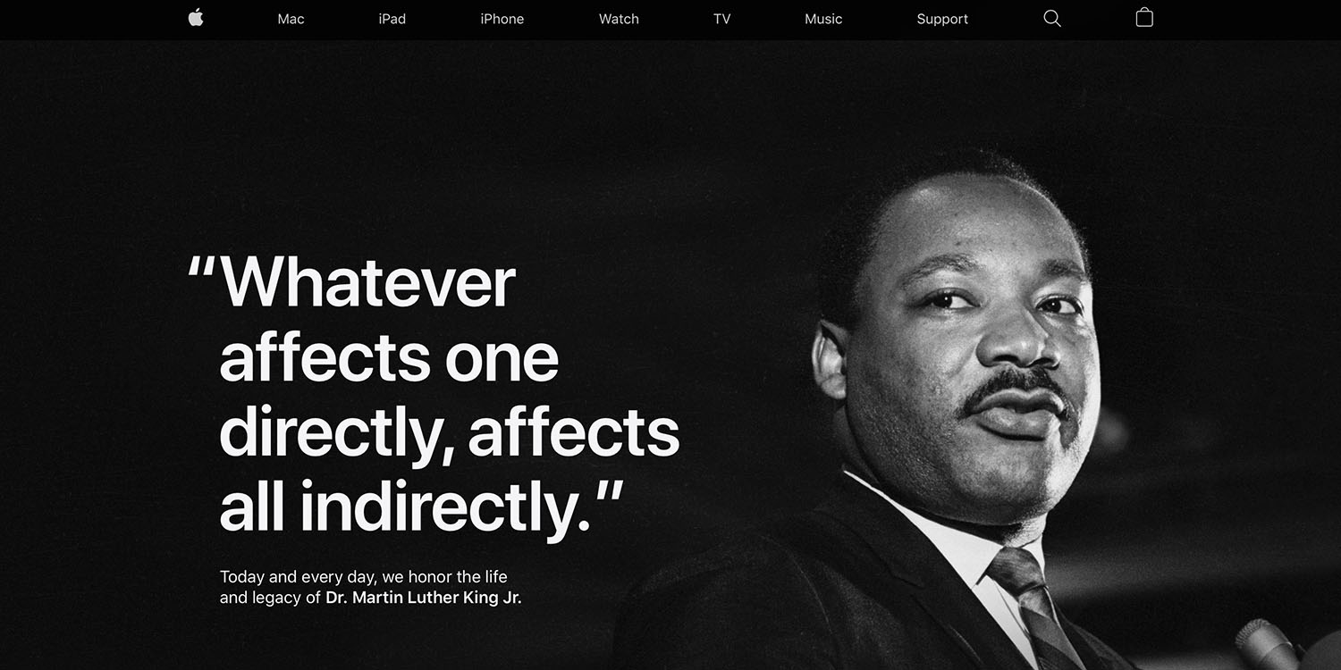 Apple once more dedicates homepage to celebrating Martin Luther King Jr Day  - 9to5Mac