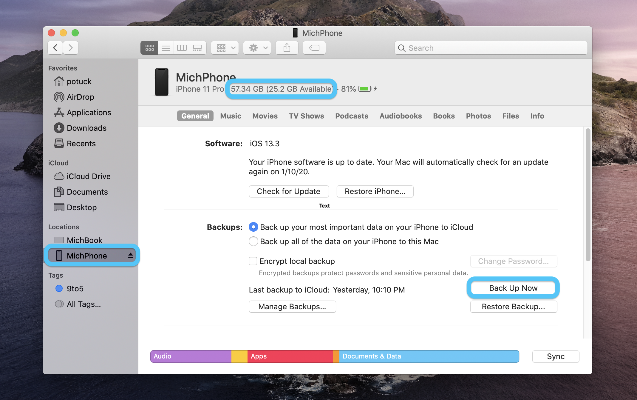 How to backup iPhone on Mac macOS Catalina walkthrough 1