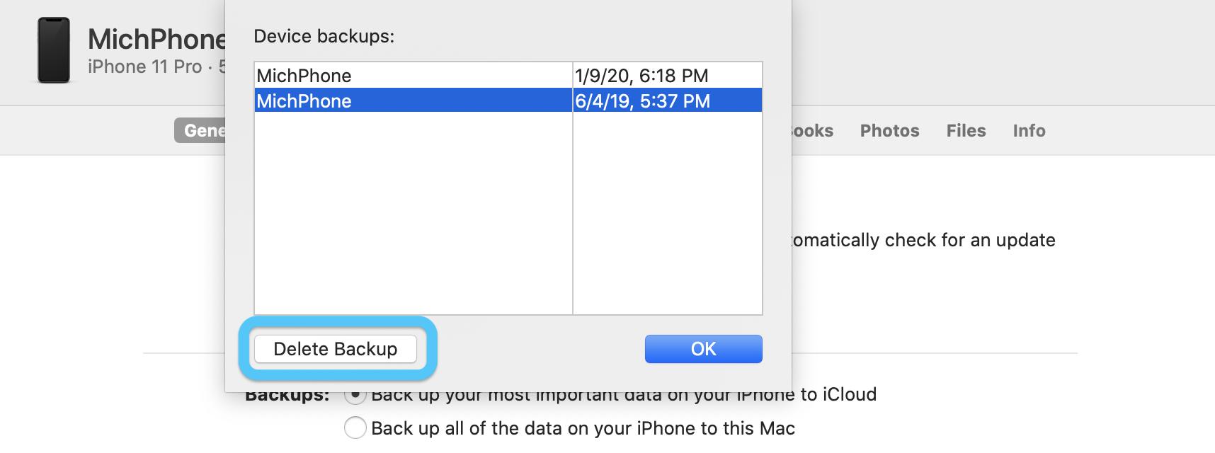 Как удалить резервные копии iPhone macOS Прохождение Catalina 2