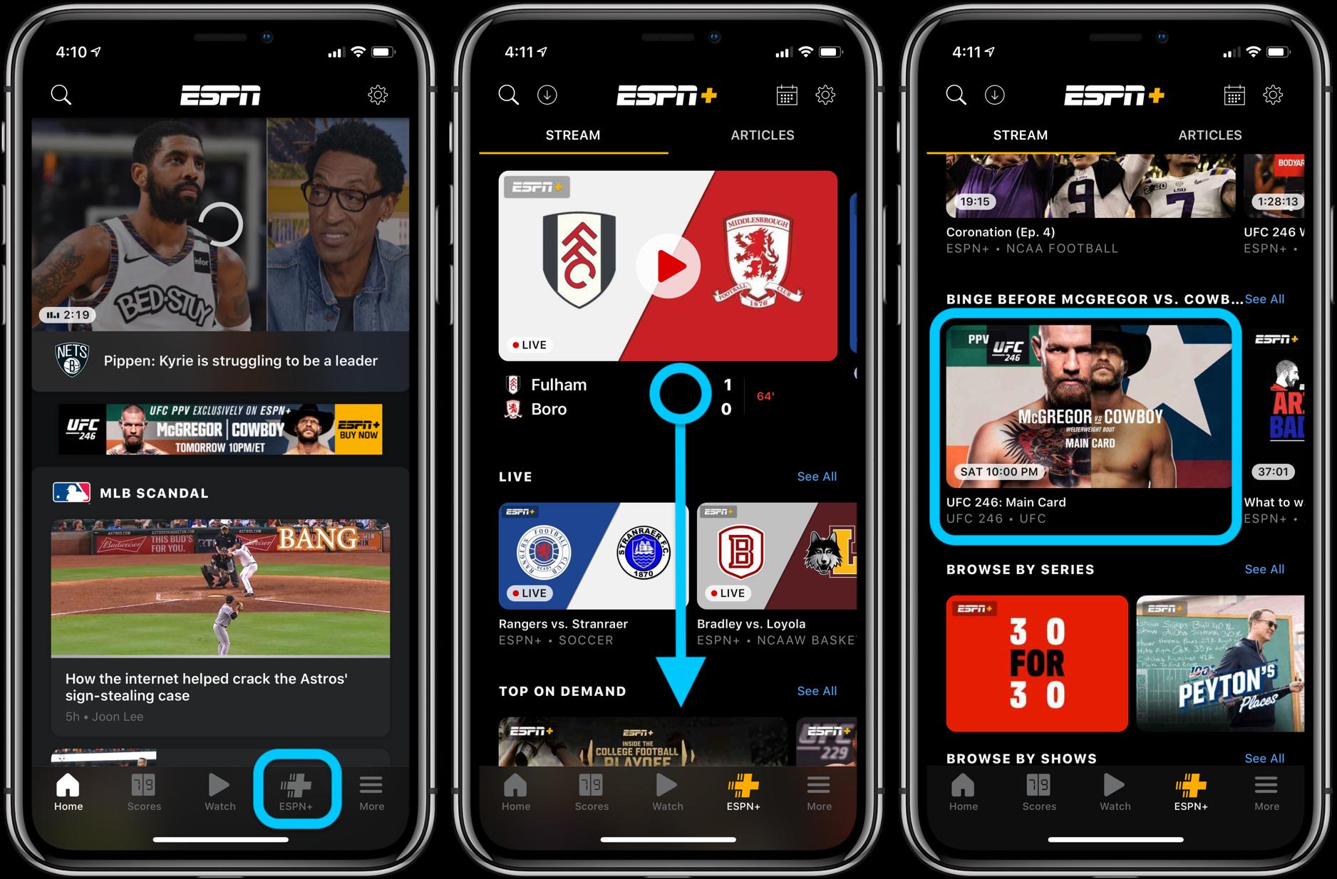 Как смотреть UFC 246 Макгрегор против Ковбоя iPhone iPad Apple телевидение