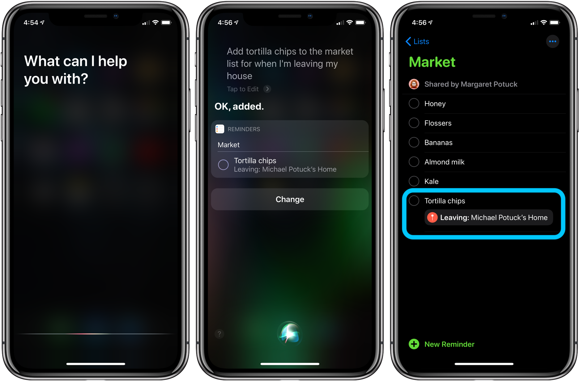 Siri how to set location-based Reminders iPhone Apple Watch iPad Mac HomePod