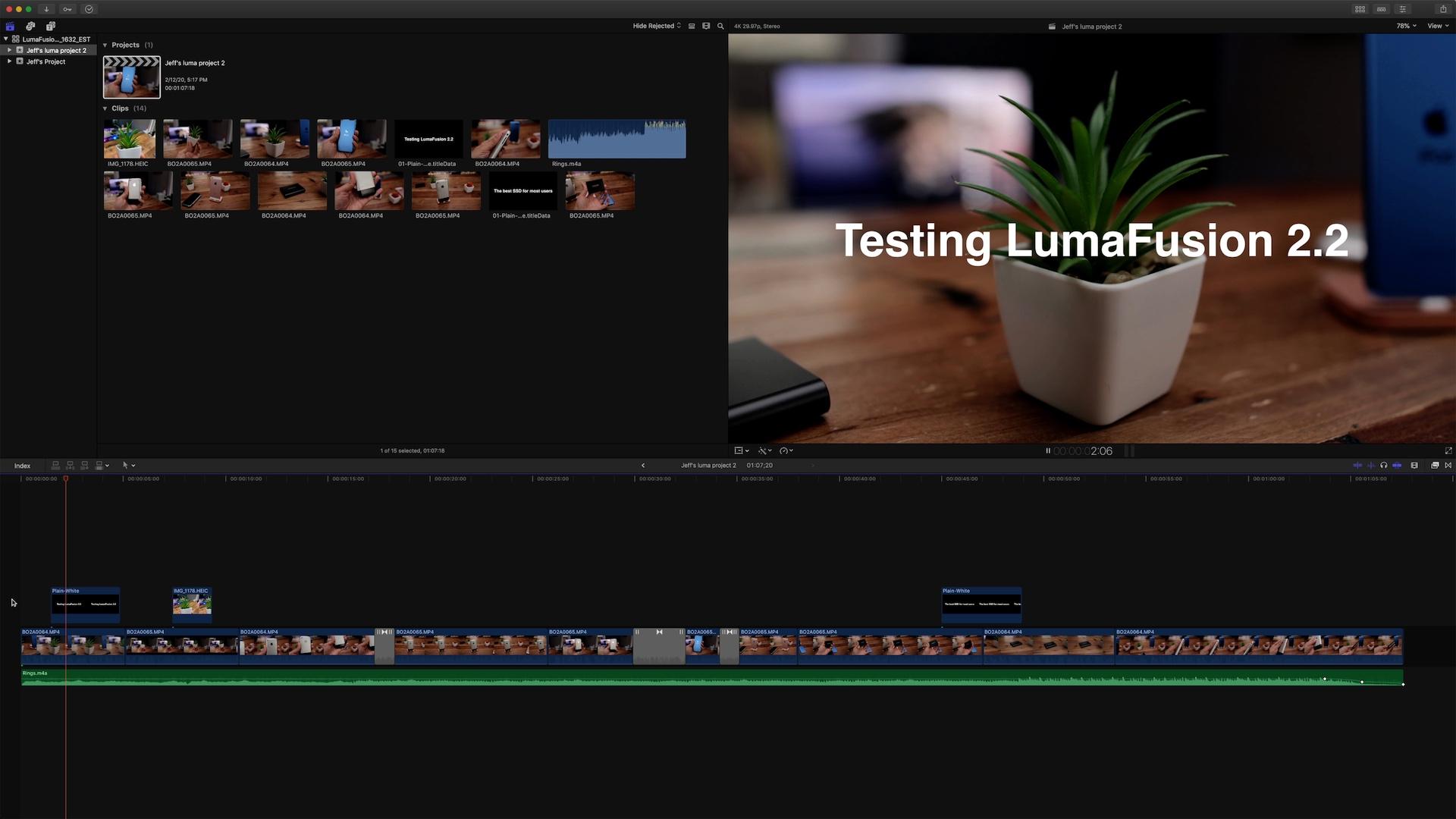 LumaFusion 2.2 FCPXML Final Cut Pro X Timeline