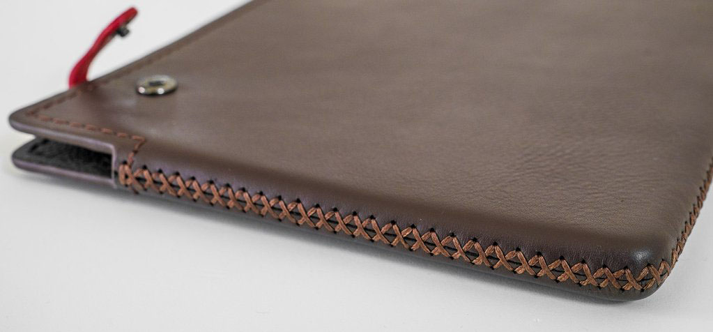Beautiful stitching on this MacBook Pro leather sleeve