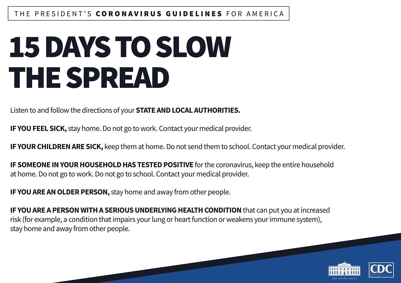 US coronavirus directions