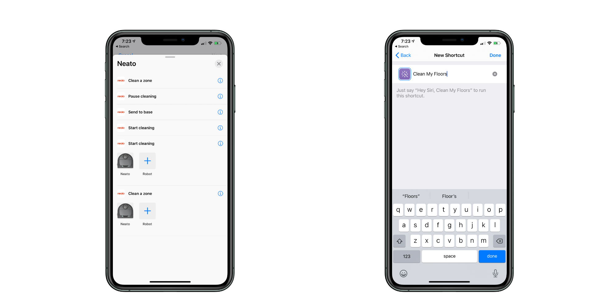 Siri Shortcuts with Neato