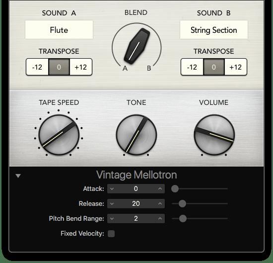 Vintage Mellotron expanded controls