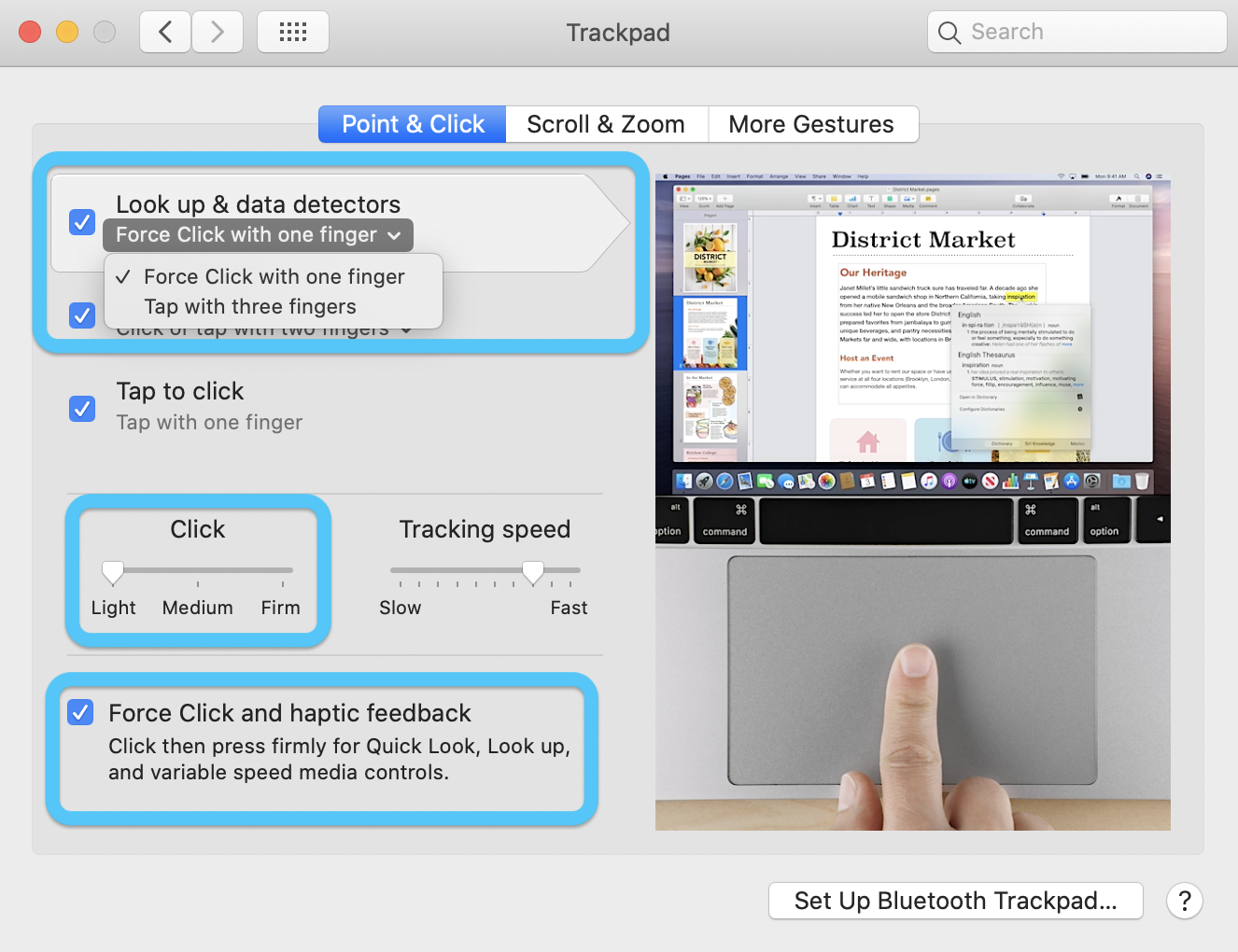 Force Touch trackpad Mac what can you do walkthrough