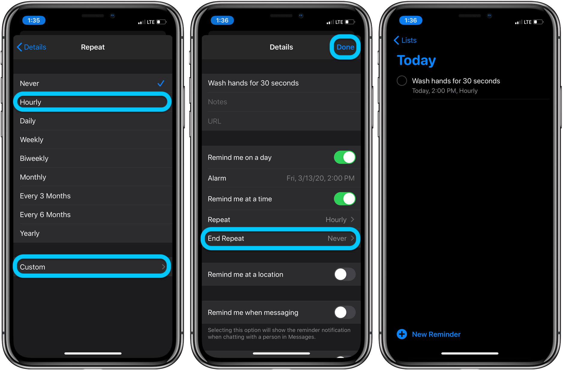 How to set hourly reminders iPhone apple watch wash hands don't touch face walkthrough 2