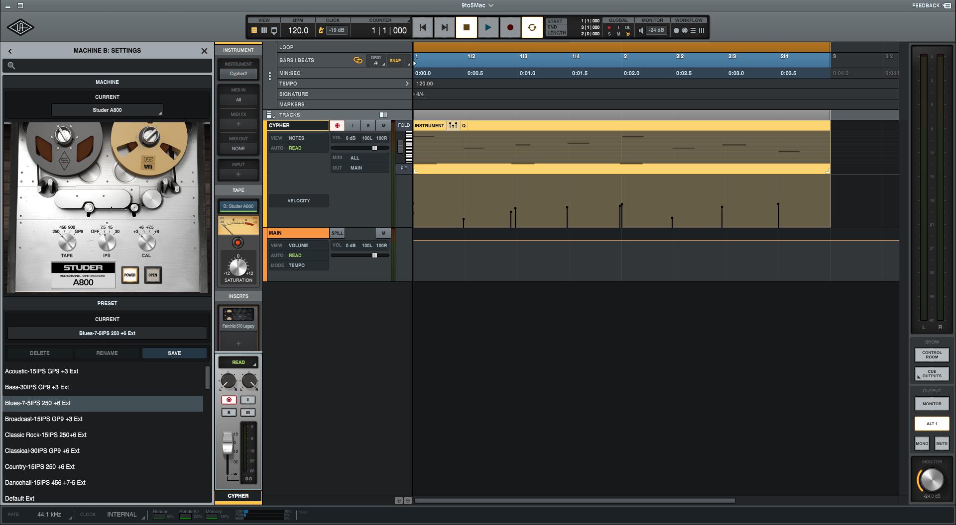 Universal Audio LUNA recording tracks