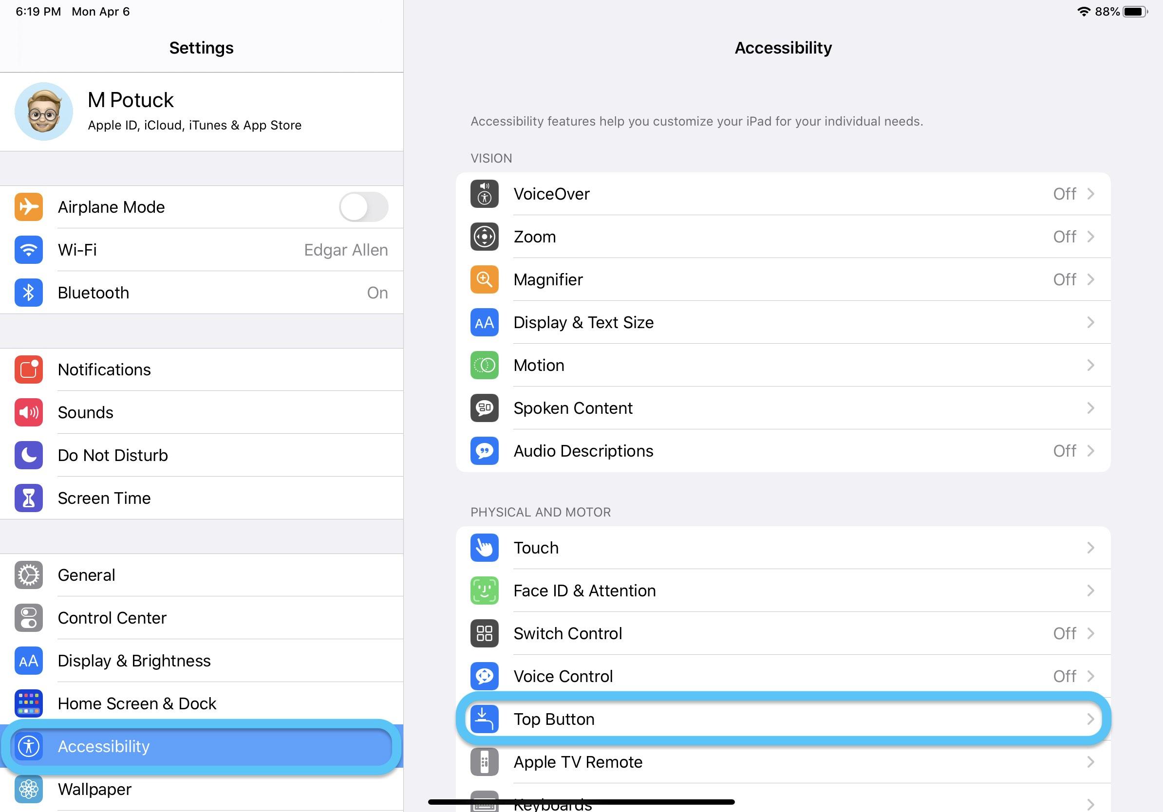 How to customize top button iPad Pro walkthrough 1
