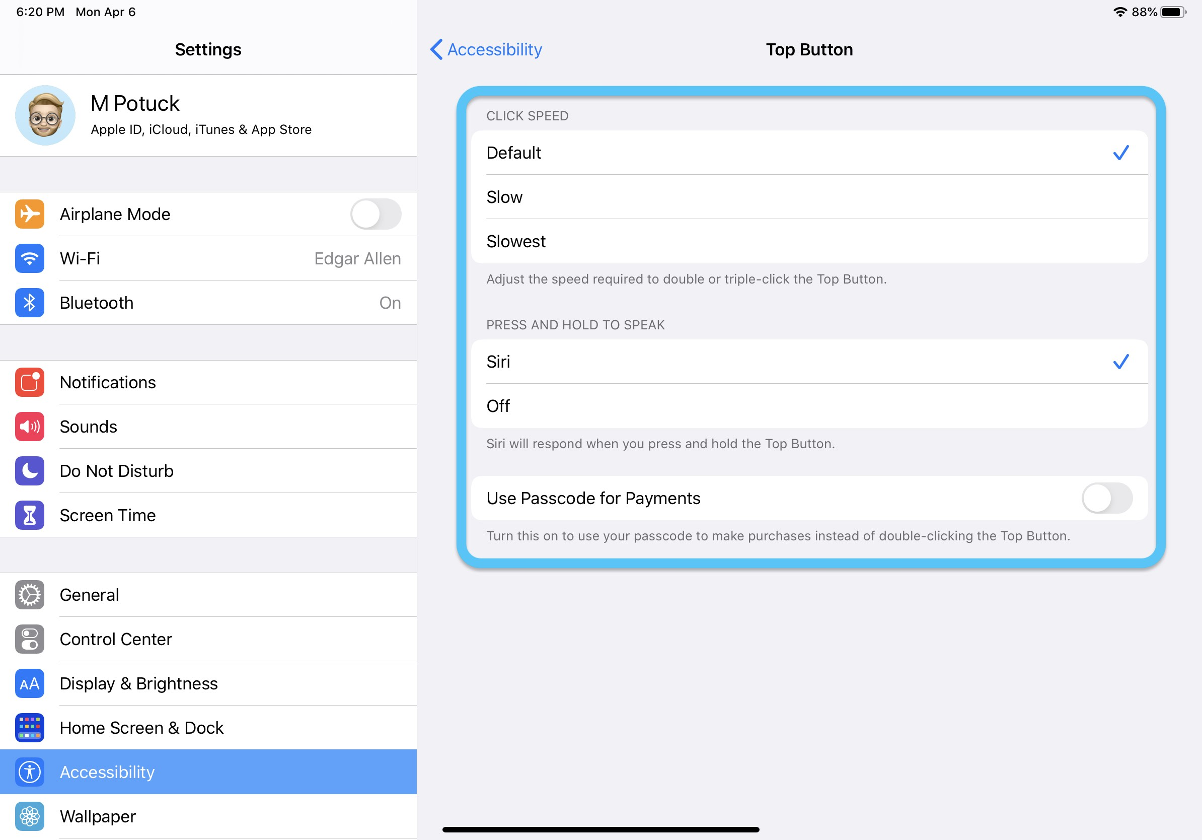 How to customize top button iPad Pro walkthrough 2