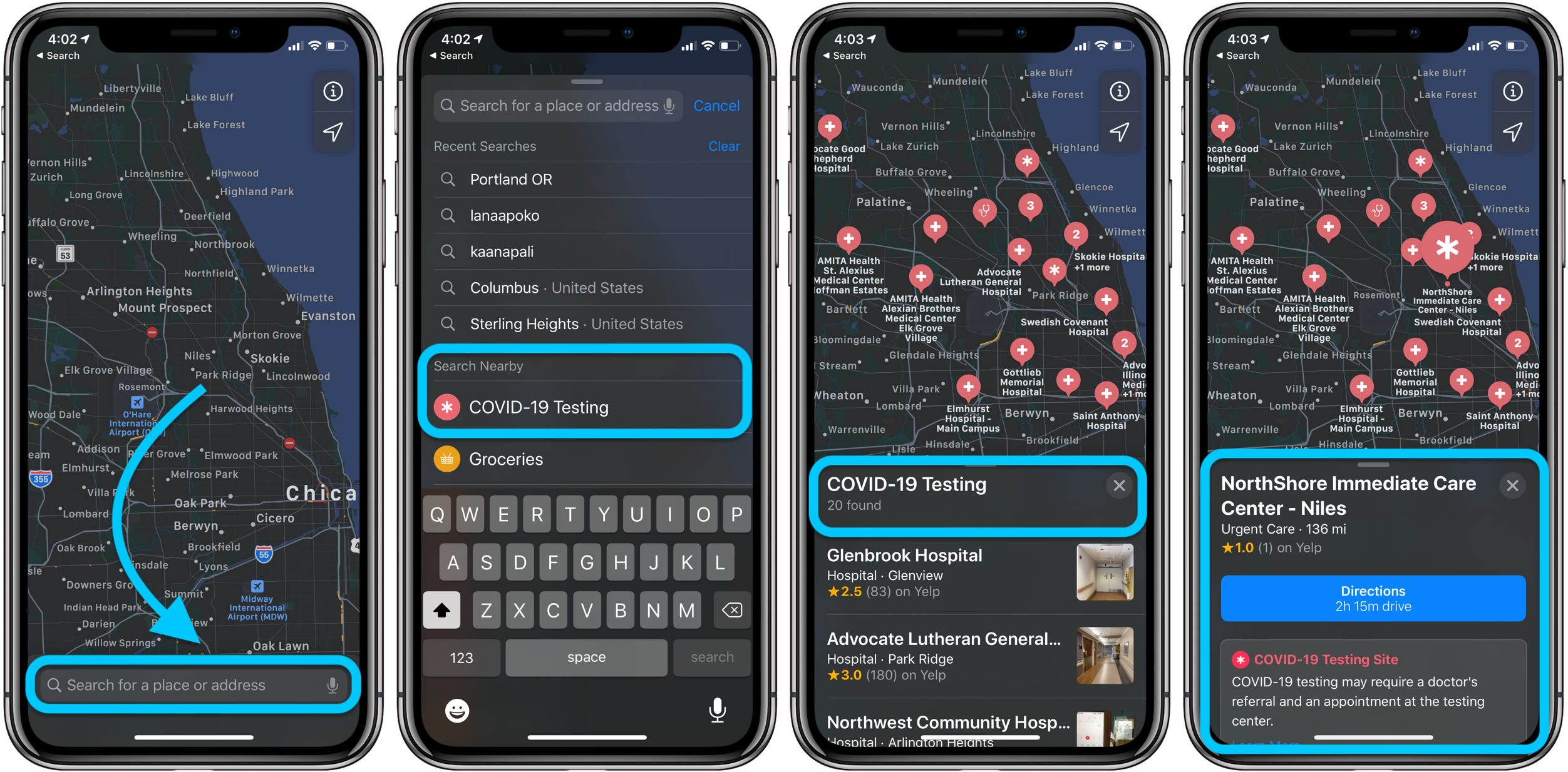 How to find COVID-19 testing location iPhone iPad Mac walkthrough
