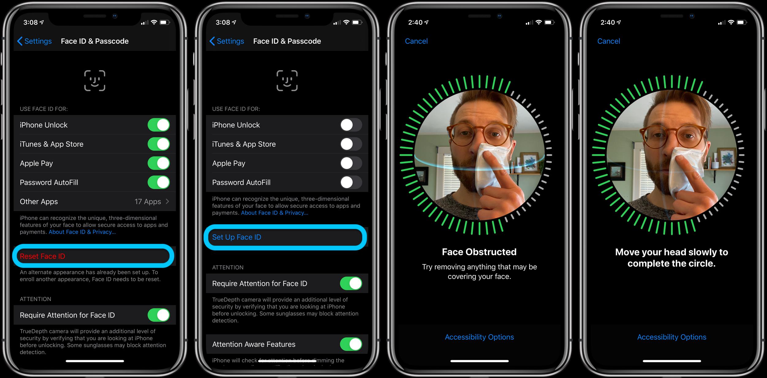 iPhone как использовать Face ID с маской прохождение 1