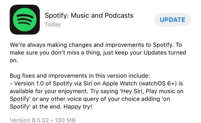 Spotify Siri Apple Watch support