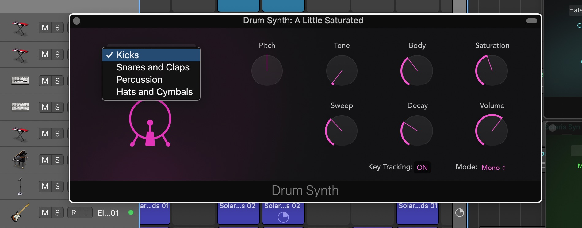 Drum Synth Logic Pro X categories