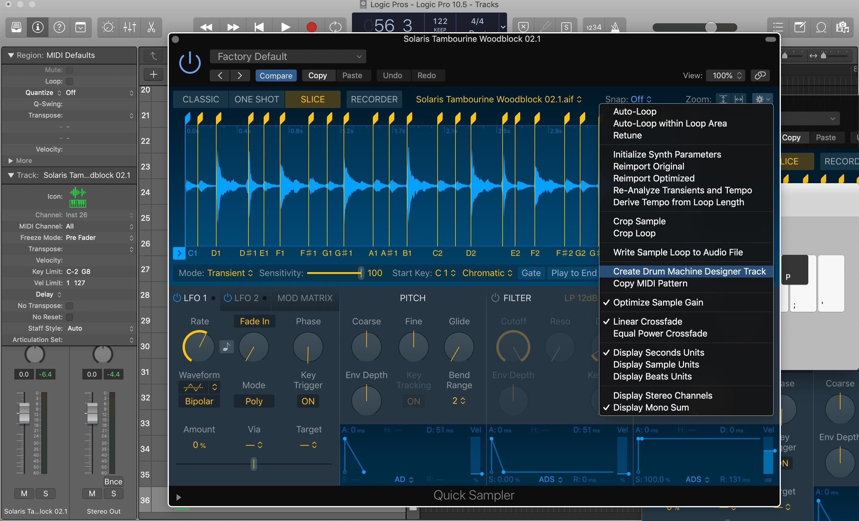 Logic Pro X update 10.5 Quick Sampler Drum Machine Designer