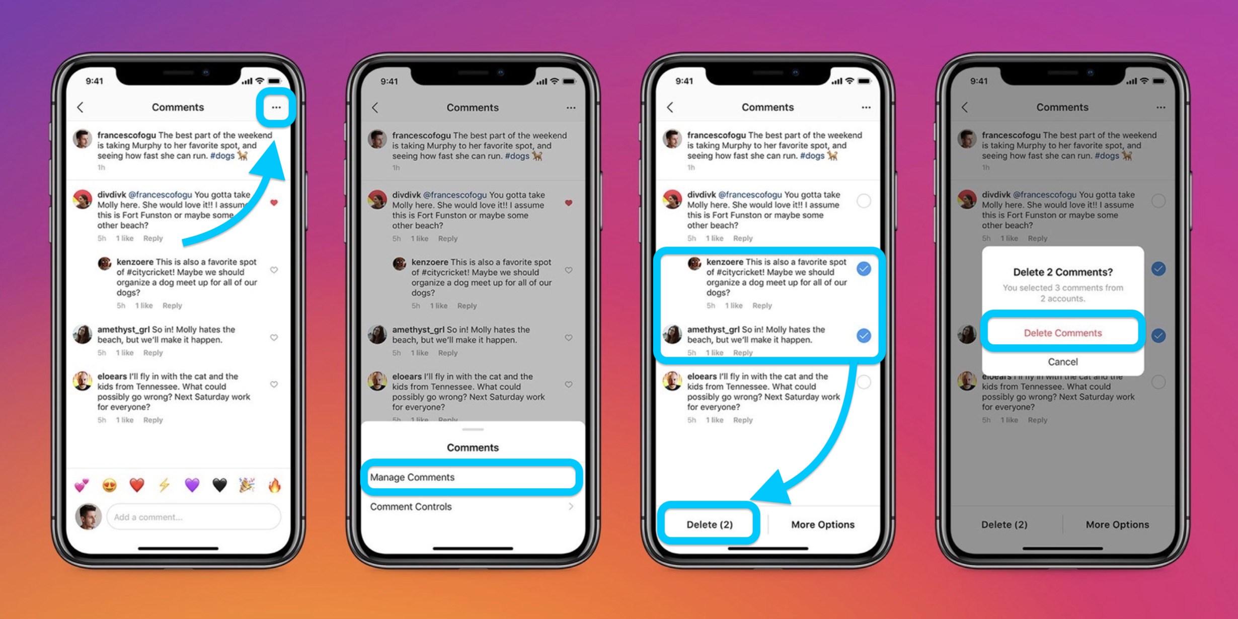 How to bulk delete comments Instagram iPhone iOS