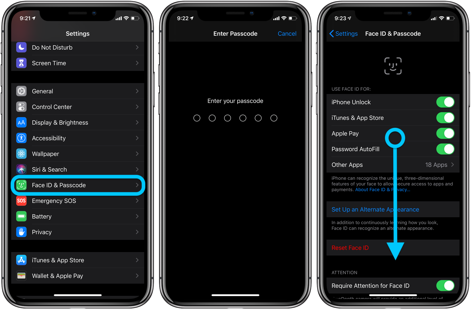 iPhone how to change passcode, skip Face ID walkthrough 2