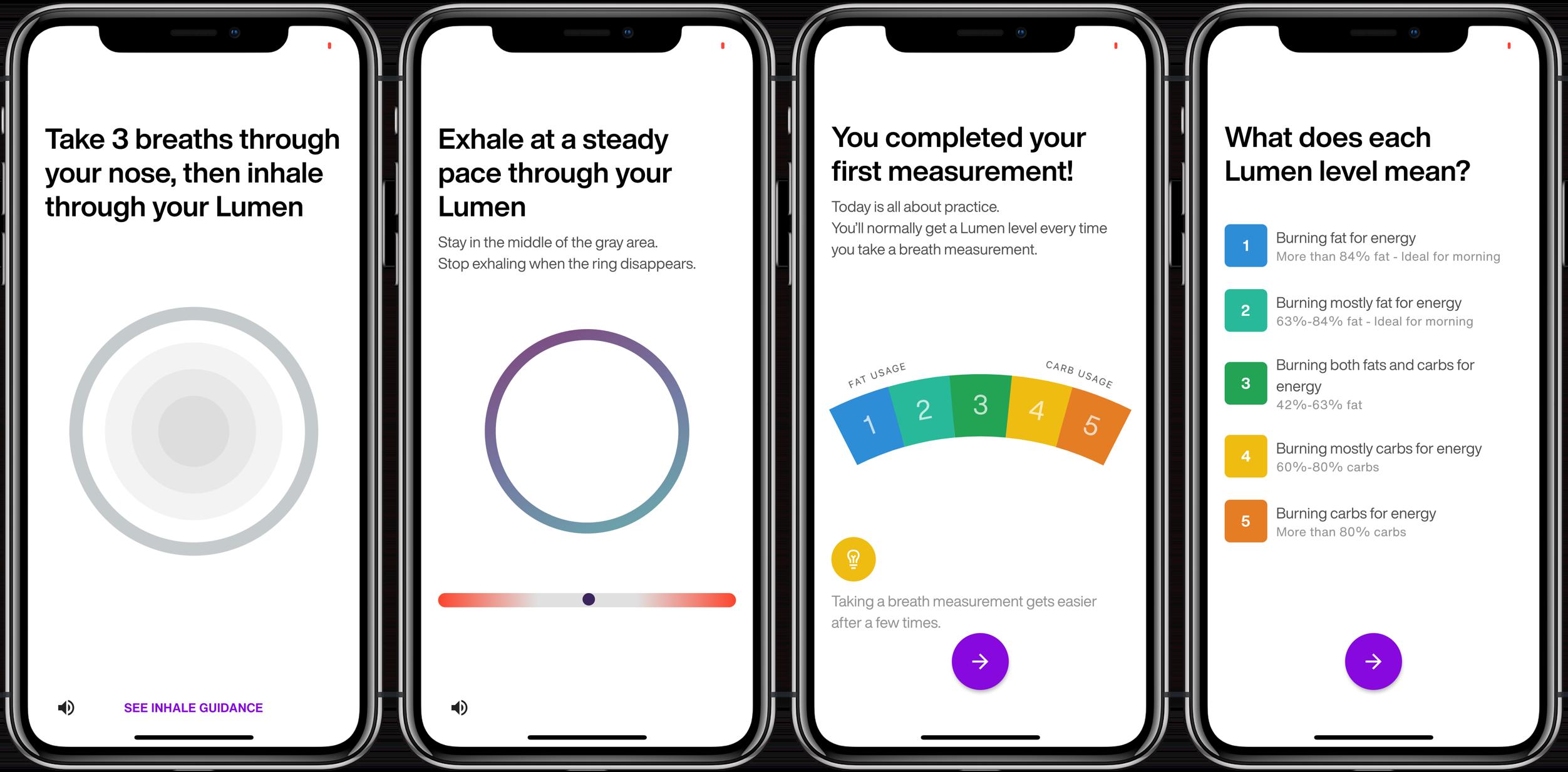 Lumen iPhone iOS metabolic testing device first breath