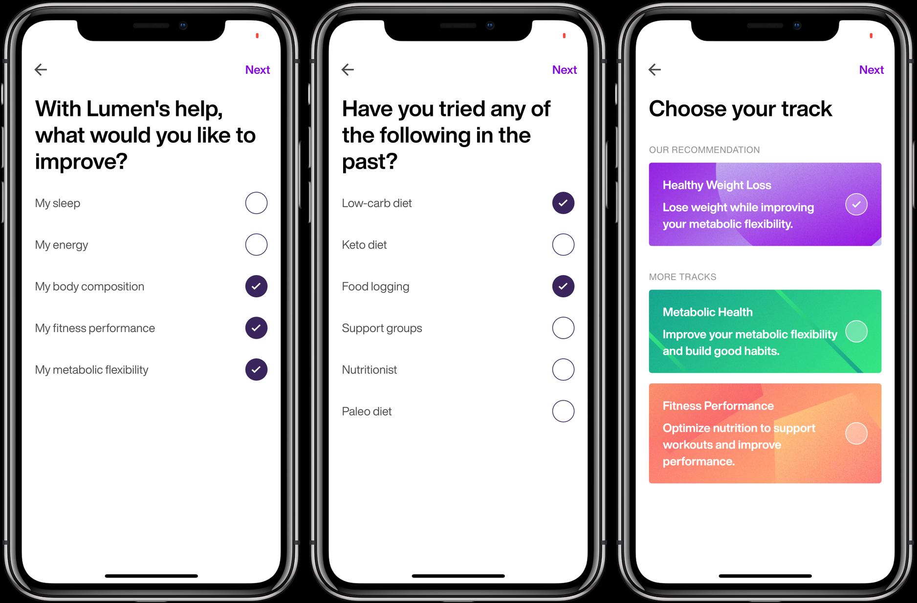 Lumen iPhone iOS metabolic testing device set up goals
