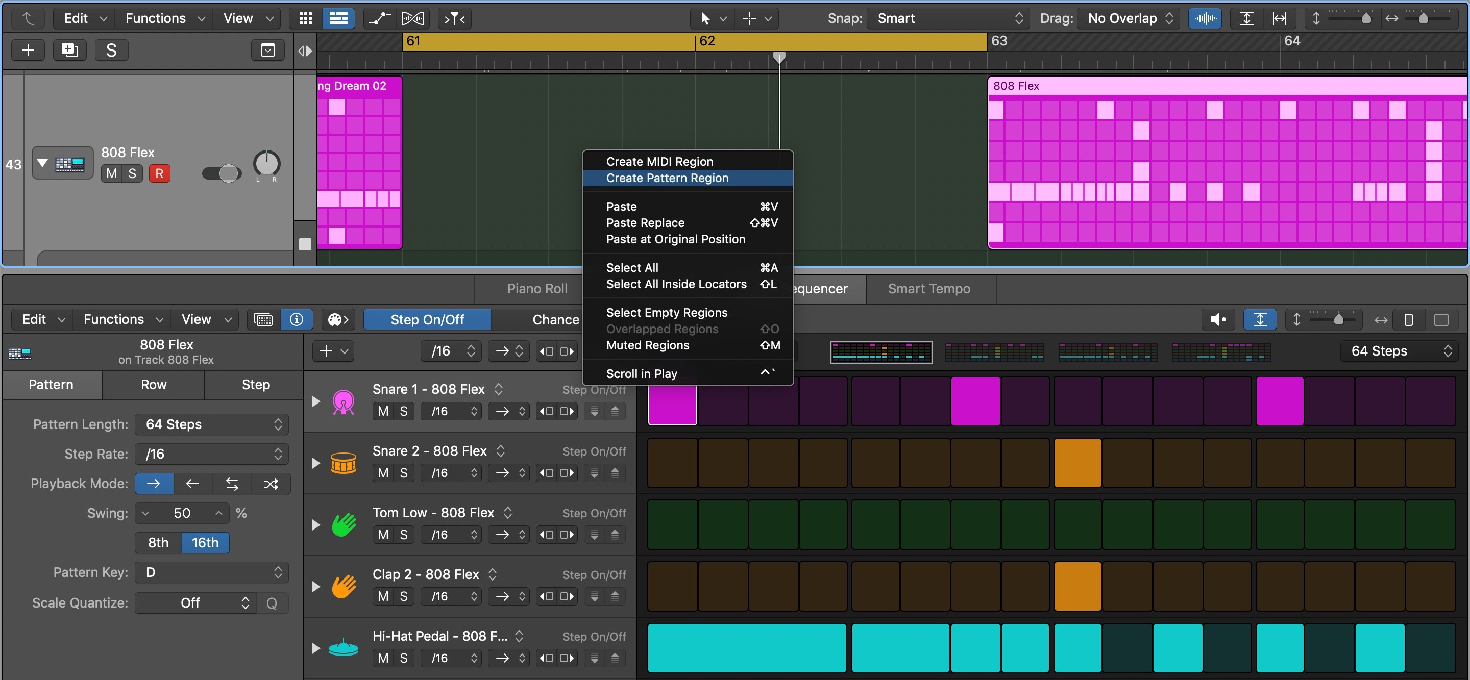 How to create Step Sequencer Pattern Regions